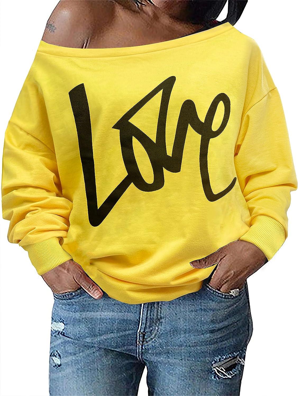 Womens Tops Plus Size Sweatshirts Sweaters Shirts Long Sleeve Oversized Sexy Fall Off Shoulder T-shirts