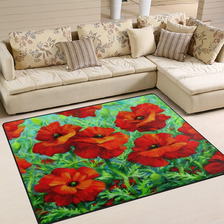 ALAZA Art Red Poppy Flower Area Rug Rugs for Living Room Bedroom 7' x 5'
