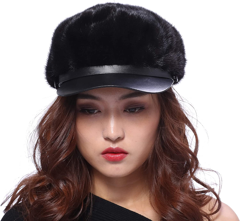 BeFur Real Mink Fur Hat Fashionable Duck Tongue Beret Keep Warm
