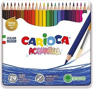 CARIOCA ACQUARELL BOX   42860 - Caja de Lata con Lápices Acuarelables, 24 Colores
