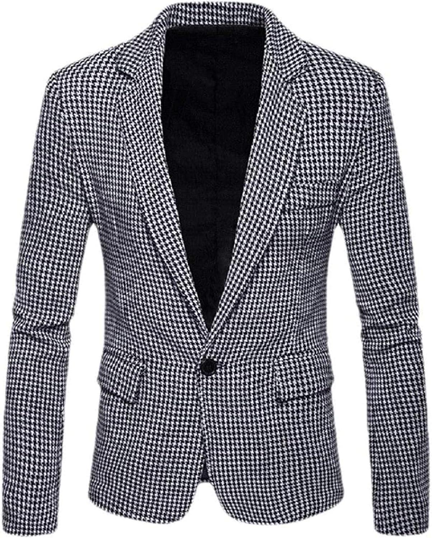 Men Houndstooth Single Button Plus Size Business Sports Coat Blazers