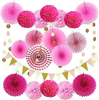 Zerodeco Decoración de la Fiesta, 21 Piezas Abanicos de Papel Bola de Nido Pom Poms Ventilador Cumpleaños Boda Carnaval Bebé Ducha Home Party Supplies Decoración (Rosa)