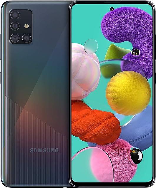 Samsung Galaxy A51 - Dual SIM Smartphone de 6.5 Super AMOLED (4 GB RAM 128 GB ROM cámara Trasera 48.0 MP + 12.0 MP + 5.0 MP + 5 MP cámara Frontal 32 MP) Negro [Versión española]