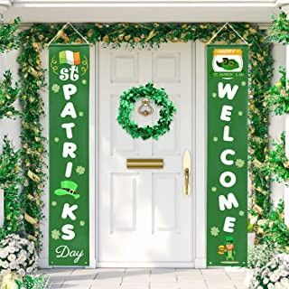 f41045a8 Whaline St. Patrick's Day Porch Sign, Shamrock Welcome Hanging Sign St.  Patrick Decoration