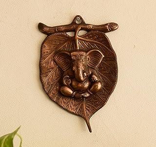 eCraftIndia Metal Wall Hanging of Lord Ganesha on Leaf (LxWxH - 5.5INx0.5INx8.5IN)