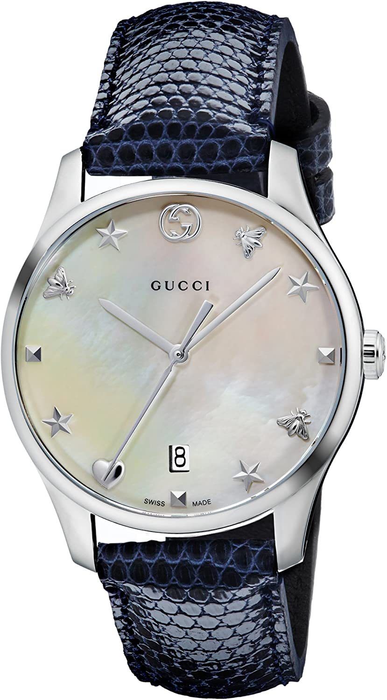 Gucci Reloj Análogo clásico para Mujer de Cuarzo con Correa en Cuero YA126588
