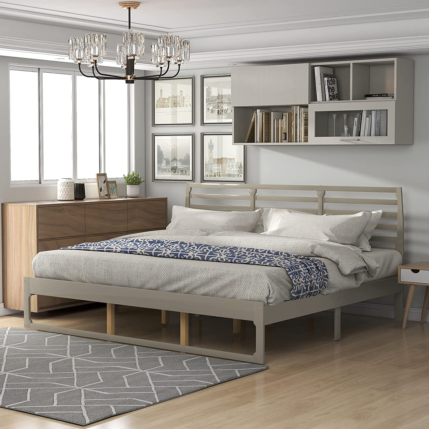Lazyspace King Size Platform Bed Headboard Super sale Charlotte Mall Wood with Frame