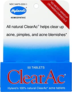 Hyland's ClearAc Acne Treatment and Skin Care, Natural Relief of Pimples and Blemishes, 50 Quick-Dissolving Tablets