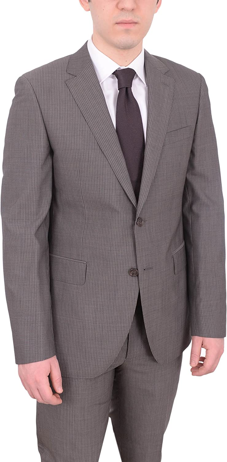 Napoli Mens Slim Fit Gray Pinstriped Half Canvassed Marzotto Wool Suit