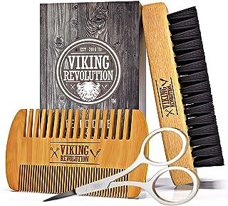 ویکینگ Revolution Beard Comb and Ardine Brush Set for Men - برس عصاره بریج طبیعی و دوگانه چوب گلدان ترکیبی w / کیسه سفر مخملی - بزرگ برای ریشخند کردن ریش و سبیل