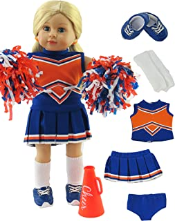 American Fashion World Blue and Orange Cheerleader Outfit Uniform with Dress, Bloomers, Poms, Megaphone, Socks, and Shoes fits 18 Inch Doll