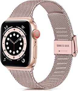 GEAK Compatible with Apple Watch Band 40mm 38mm 42mm 44mm for Women, Ajustable Slim Stainless Steel Mesh Loop Replacement Wristband for iWatch SE & Series 6 5 4 3 2 1, Rose Gold