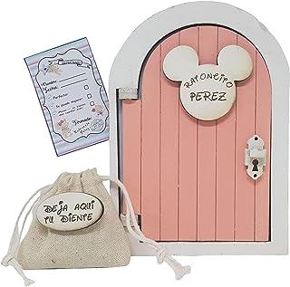 Puerta Ratoncito Pérez que se abre rosa,con saquito y carta
