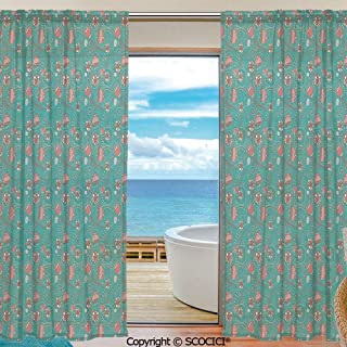 Shutters Sheer Tier Curtains for Kitche,Bedroom,Casual Weave Window Curtain,2 Panels,Turquoise,Abstract Floral Arrangement Hand Drawn Foliage with Circular Elements Romantic Decorative,Teal Coral