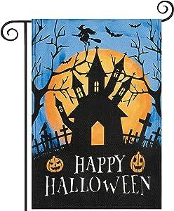 Hogardeck Halloween Garden Flag, Happy Halloween Garden Decorations Outdoor, Burlap Double Sided Vertical Halloween Porch Decor, Halloween Yard Flag Signs 12.5 x 18 Inches