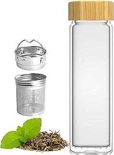 amapodo Teeflasche aus Glas mit Edelstahl Sieb – Tee Flasche 400ml – Teekanne..