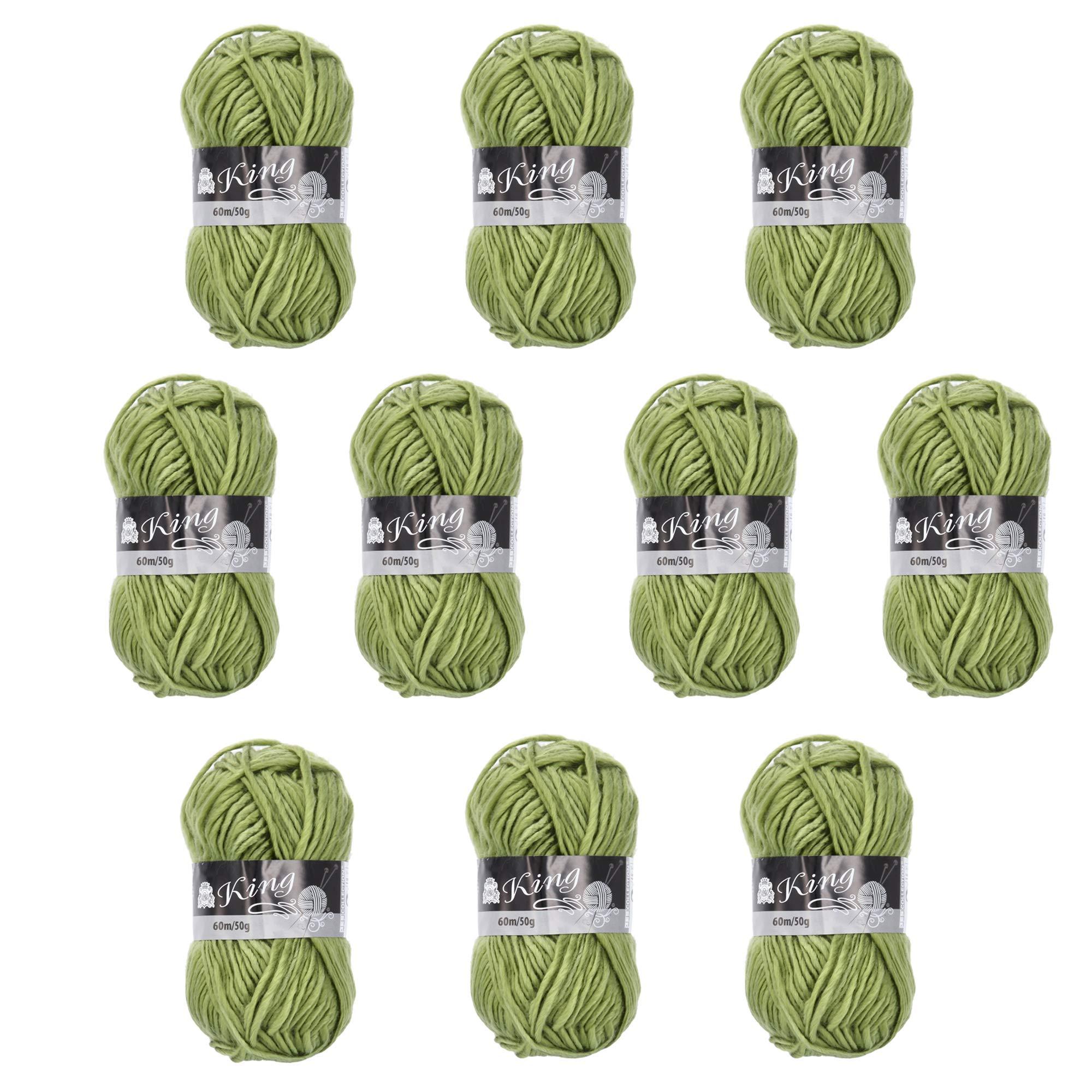 Melissa Pack Hilo Acrílico Ovillos de Lanas de Hilo Lana Prémium Hilados Madejas - Perfecto para DIY y Tejer a Mano, Color Verde (50 g * 10 unidades): Amazon.es: Hogar