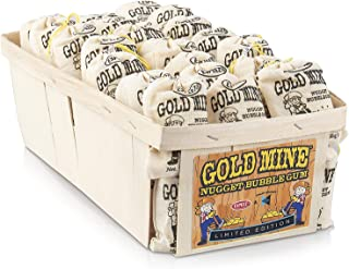 Old Fashioned Bubble Gum Candy: Fruit Flavor Chewing Gum in Individual Drawstring Bags by Espeez - Candy Buffet Vintage Bulk Candy Packs for Parties and Special Events - Gold Mine Nugget Gum - 48 Bags