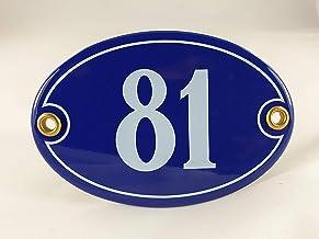 Emaille huisnummerbordje nr. 81, ovaal, blauw-wit Nr. 81 Blau-Weiß + Schrauben und Dübel
