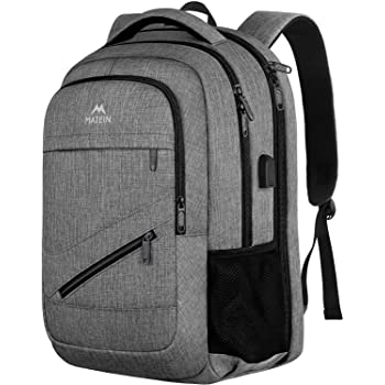 Travel Laptop Backpack,TSA Large Travel Backpack for Women Men, 17 Inch Business Flight Approved Carry On Backpack with USB Charger Port and Luggage Sleeve, MATEIN Durable College School Bookbag,Grey