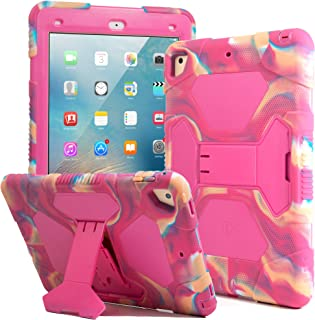 Kids Case for iPad 9.7 2018/2017, iPad Air 2, iPad Pro 9.7 Case Full Body Protective Silicone Cover Shockproof Scratchproof & Adjustable Kickstand for Apple iPad 9.7 5th / 6th Generation (Camo/Pink)