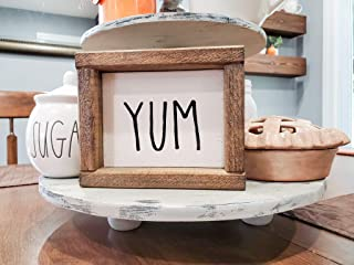 Mini Yum Sign - Dining Room Sign - Rustic Tiered Tray Sign - Home Decor - Farmhouse Style Wooden Sign - Kitchen Sign - Dining Room Sign - Kitchen Sign