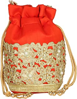 Fancy Haat Silk Ethnic Rajasthani Women's Potli Bag (Dark Orange)