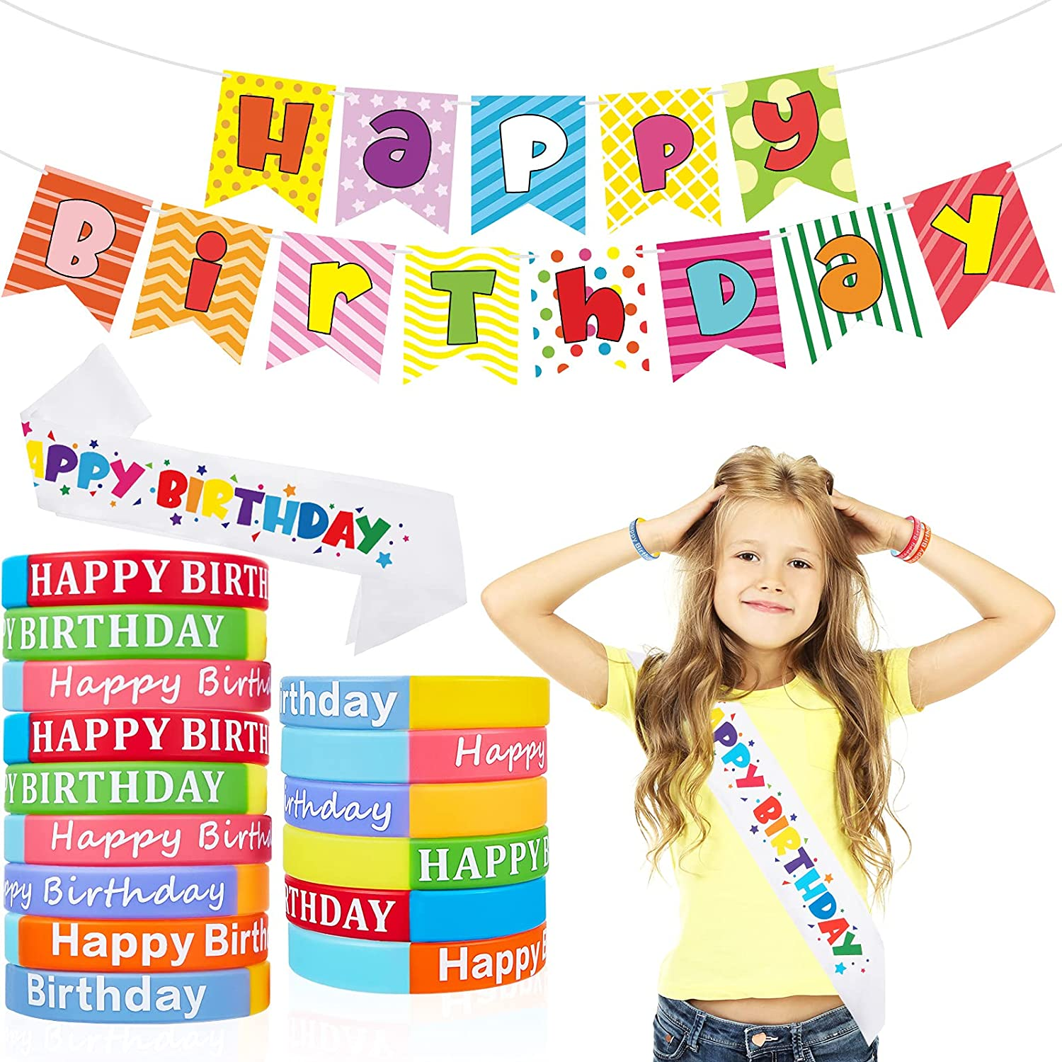 Weekly update Colored Happy Birthday Max 76% OFF Silicone Bracelet Rubber Wristba