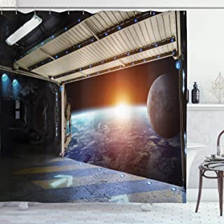 Ambesonne Outer Space Shower Curtain, Earth Scene from a Space Plane Runway Gate Globe Galaxy up to Stars Picture, Cloth Fabric Bathroom Decor Set with Hooks, 75