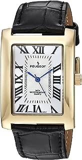 Peugeot Men's Vintage Rectangular Quartz Watch with Leather Strap, Black, 21.7 (Model: 2051GBK