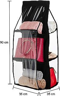 Amazon Brand - Solimo Fabric Hanging Shelf Organiser, Black