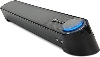 GOgroove Computer Speaker Mini Soundbar - USB Powered PC Sound Bar with Easy Setup Wired AUX, Stereo Audio, Microphone Port, Volume Control Knob, Under Monitor Design for Desktop (Black) (Renewed)