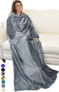 "Catalonia Wearable Blanket with Sleeves and Pocket, Comfy Soft Fleece Mink Micro Plush Wrap Throws Blanket Robe for Women and Men 73"" x 51"""
