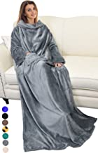 Catalonia Wearable Blanket with Sleeves and Pocket,Cozy Soft Fleece Mink Micro Plush Wrap..