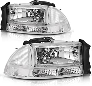 Headlight Assembly for 97-04 Dodge Dakota 98-03 Dodge Durango Headlamp Replacement with Park Signal Lamp Crystal Housing Clear Lens
