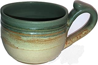 Hand Made Ceramic Stoneware Pottery Soup Crock Bowl with Handle - Hand Painted and hand Glazed - Blue and Beige, Hand Crafted – Hand Spun - 14 oz Bowl, by Integrity