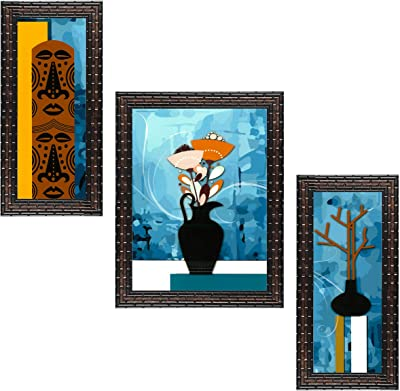 Indianara Set of 3 Abstract Floral Framed Art Painting (3166GB) without glass 6 X 13, 10.2 X 13, 6 X 13 INCH
