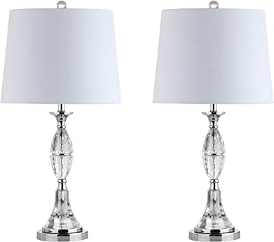 """JONATHAN Y JYL2041A-SET2 Reid 25.5"""" Crystal LED Table Lamp Traditional,FrenchCountry,Transitional for Bedroom, Living Room, Office, College Dorm, Coffee Table, Bookcase, Clear/Chrome(Setof2)"""