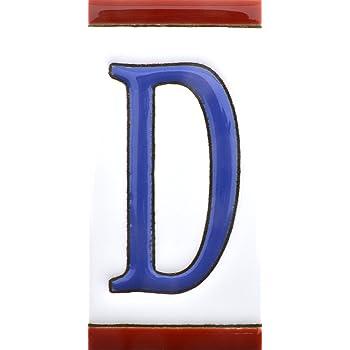 ART ESCUDELLERS Numeros y Letras en azulejo de Ceramica Dise/ño USA Mediano 10,9 cm x 5,4 cm. Letra R Pintados a Mano en t/écnica Cuerda Seca para Nombres direcciones y se/ñal/éctica