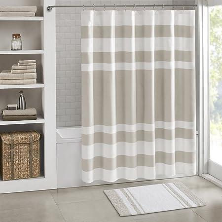 Madison Park Amherst Bathroom Shower Faux Silk Pieced Striped Modern Microfiber Bath Curtains 72x72 Inches Navy