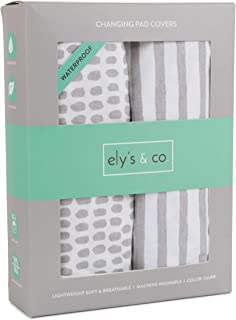 Waterproof Changing Pad Cover Set | Cradle Sheet Set by Ely's & Co no Need for Changing Pad Liner Taupe Splash & Stripe 2 ...
