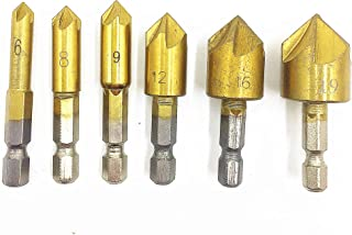 TSUCIA 面取りカッター バリ取り ドリルビット 面取りビット ツールキット チタンコーティング 六角軸 5枚刃 電動ドリルセット 6本セット