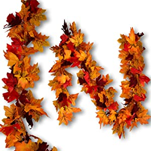 FilmHoo 2 Pack Fall Decor/Decorations Garland for Home-Fall Thanksgiving Garland Maple Leaves ,5.9ft/Piece Artificial Colorful Maple Foliage Garland for Autumn Indoor & Outdoor Decor