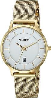 ساعة أرمترون النسائية بنظام عرض التاريخ 75/5662SVGP - لون ذهبي بسوار شبكي