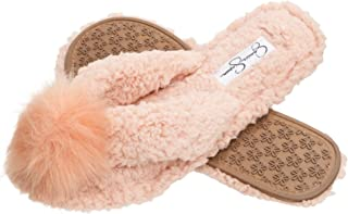 Jessica Simpson Comfort Spa Flip Flops Thong Slide On Womens Fuzzy Bedroom House Slippers