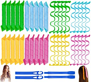 40PCS Hair Curlers Heatless Magic Hair Rollers Wave and Spiral Curl Former Two Styles(12inches) with 4PCS Styling Hooks Ki...
