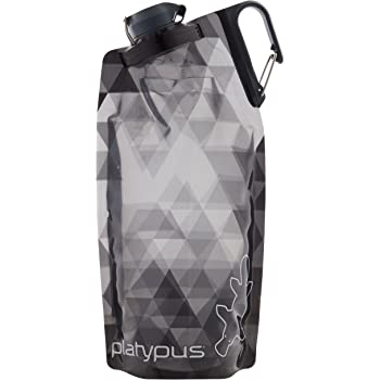 Platypus DuoLock SoftBottle Collapsible Water Bottle, Gray Prisms, 1.0-Liter