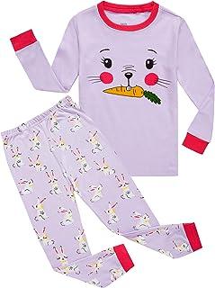 KikizYe Little Big Girls Long Sleeve Pajama Sets 100% Cotton Pjs