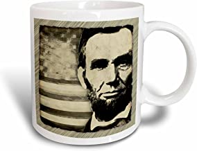 3dRose President Abraham Lincoln with American Flag in Sepia Tone Colors Mug, 11-Ounce