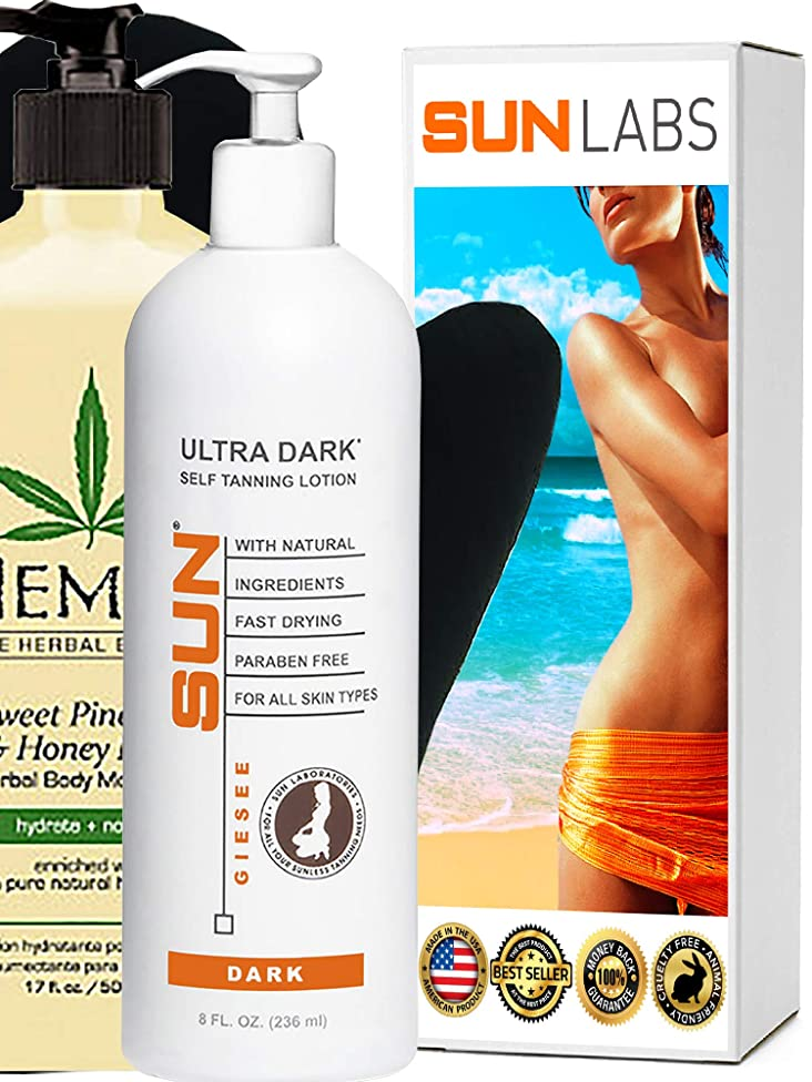 Hempz Natural Herbal Body Moisturizer: Sweet Pineapple & Honey Melon Skin Lotion, 17 oz Tanner Lotion 8 oz
